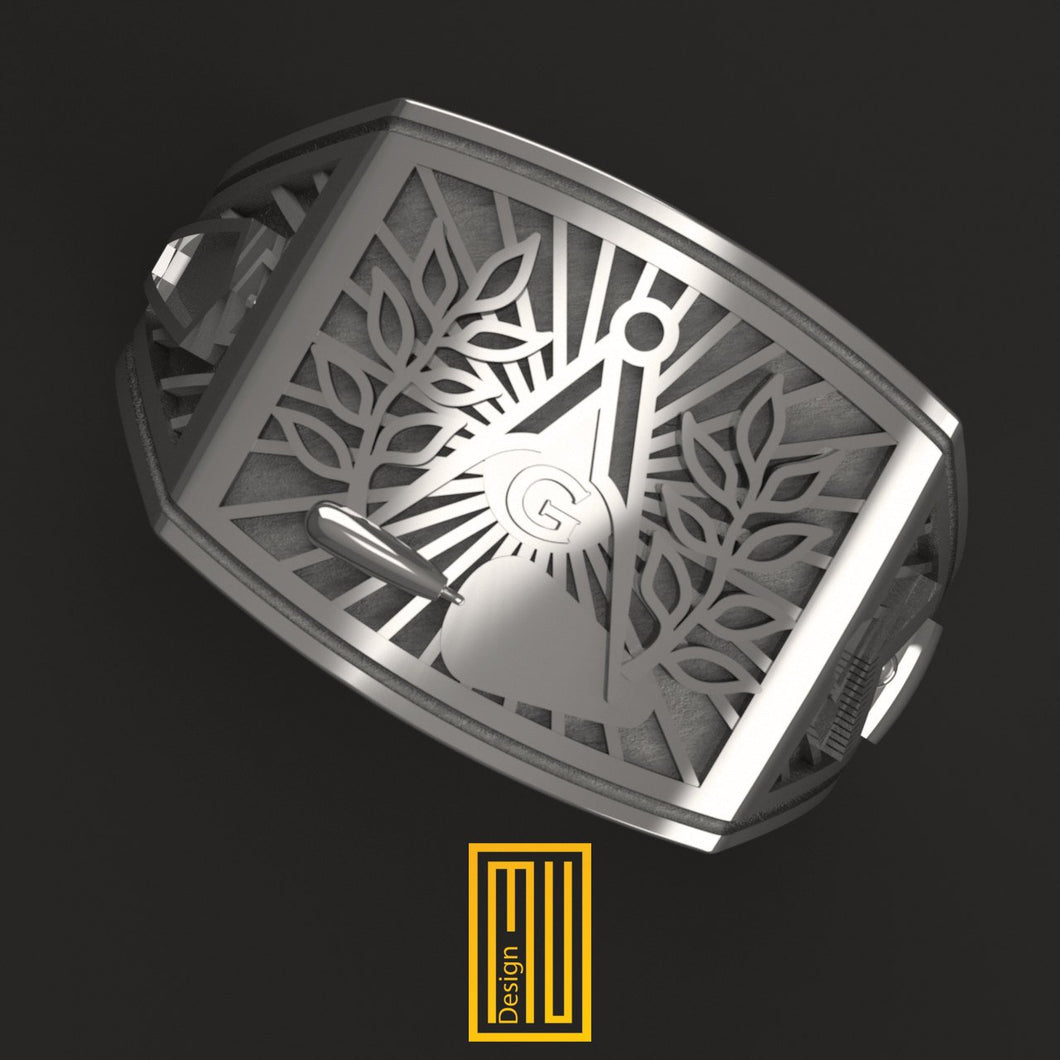 Masonic Ring With Silver Acacia and Trowel