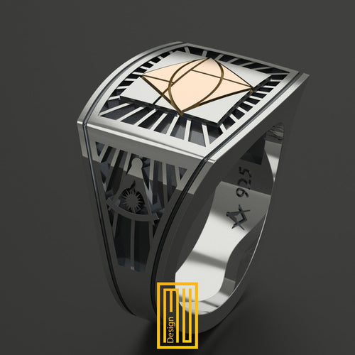 Masonic Ring Past master sign 14k Gold