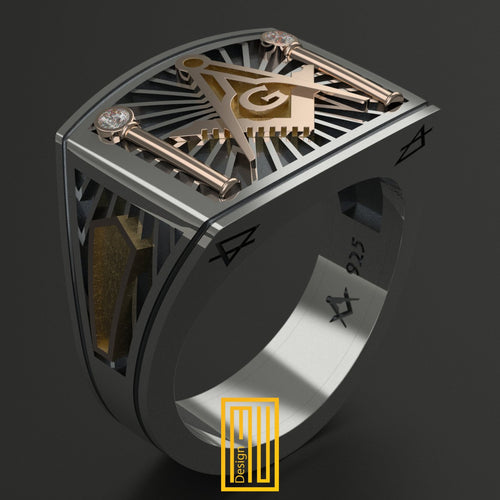 Masonic Ring 14k Rose Gold Real Diamonds
