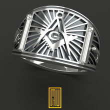 Band style Masonic Ring Silver and Gold Tools