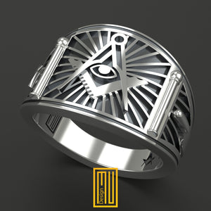 Band style Masonic Ring
