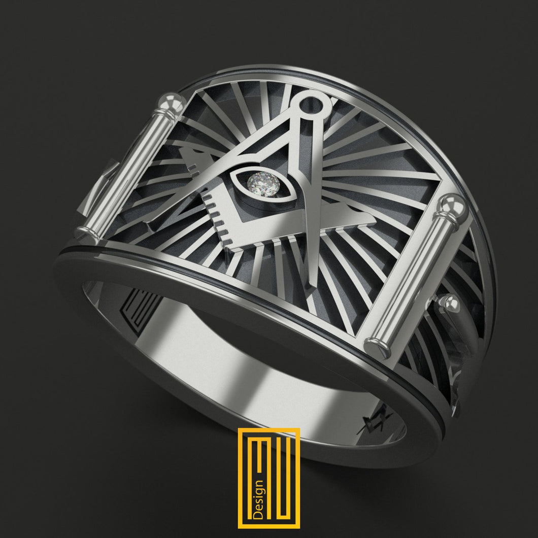Band Style Masonic Ring with Diamond