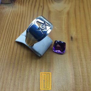 Master Mason Ring Unique Design for Men with Amethyst Gemstone 925k Sterling Silver