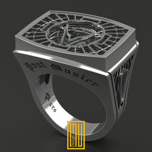 Past Master Masonic Ring Unique Design for Men 925K Sterling Silver (HMY2015-PMR)