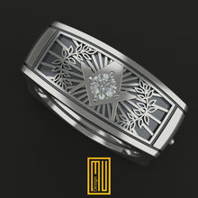 Masonic Ring Square Style with Zirconia