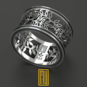 Masonic Ring with Acacia Leaves