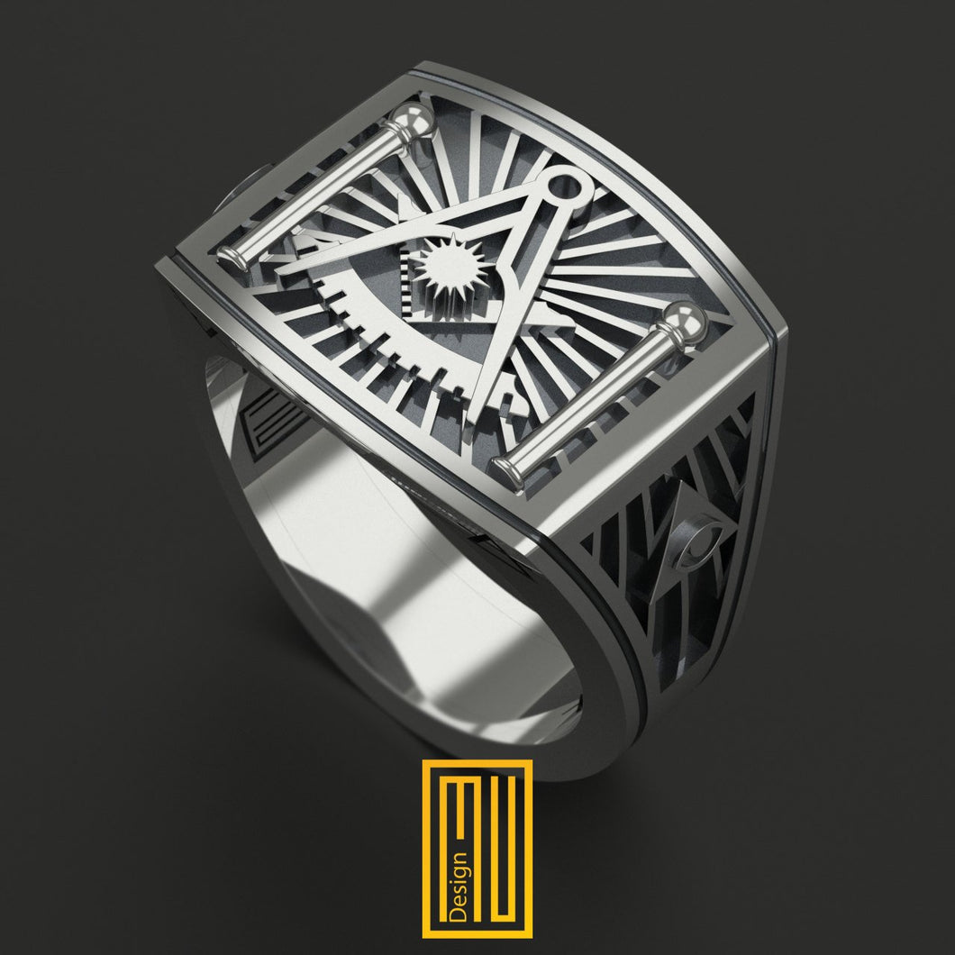 Masonic Ring Past master sign with Square silver tools