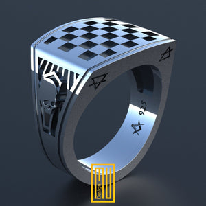 Masonic Forget Me Not Ring, Unique Design for Men 925k Sterling Silver With  Enamel