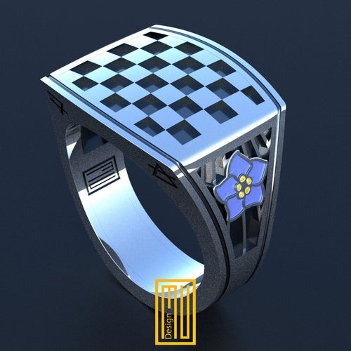 Masonic Tile Ring With Forget Me Not Flower