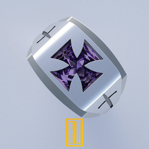 Knights of Templar Ring with Amethyst Gemstone
