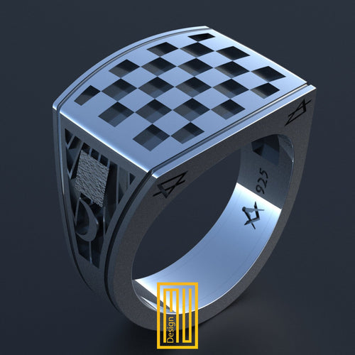 Masonic Tile Ring 925K Sterling Silver
