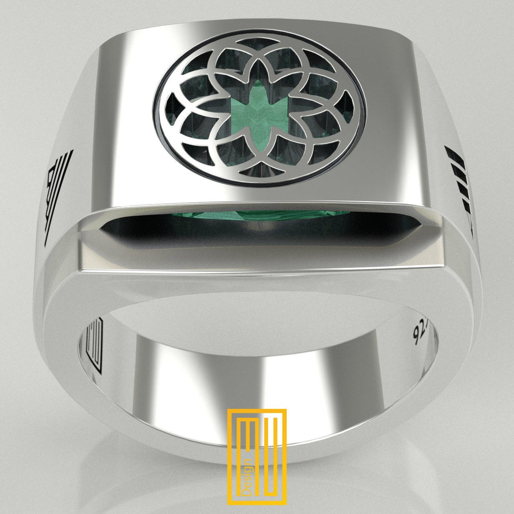 Oriental Unique Design Ring for Men with Imitation Emerald Cubic Zirconia 925K Sterling Silver