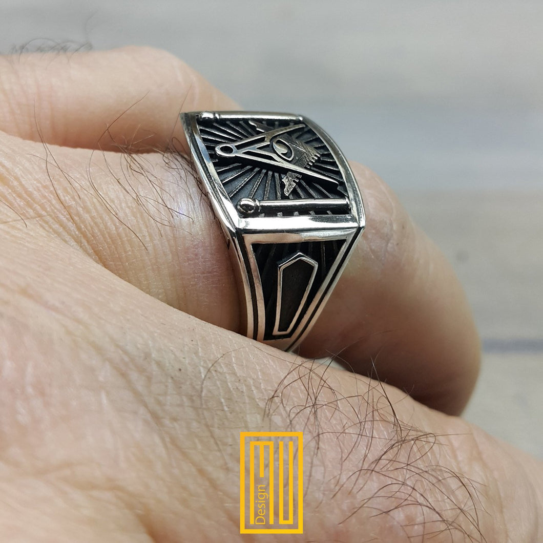 "Masonic Ring Silver tools with ""All seeing eyes"""