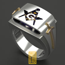Masonic Ring with Amethyst Gemstone with Golden Swords