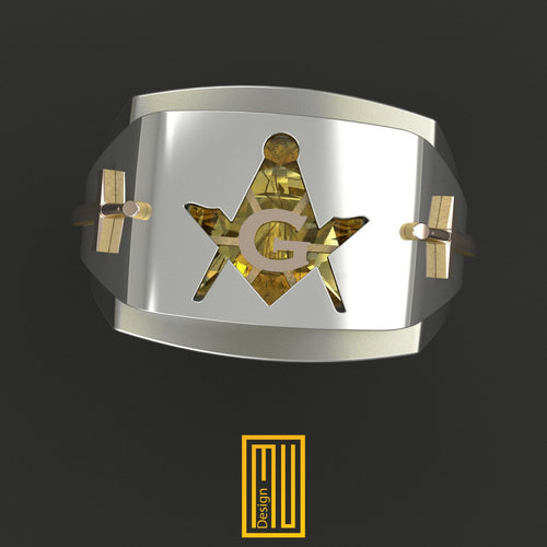 Masonic Ring with Amber Gemstone With Swords
