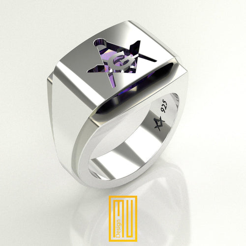 Masonic ring Amethyst Gemstone with silver G