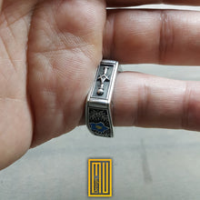 Square Design Masonic Ring With Forget Me Not