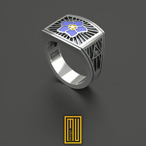 Masonic Ring With Forget Me Not Flower