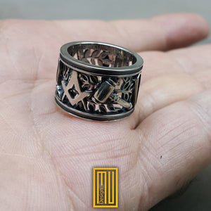 Masonic Ring Silver or Bronze With All Working Tools