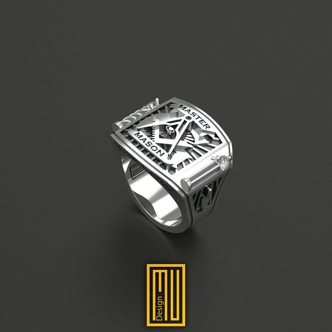 Masonic Ring With Silver Roslyn Chapel Pillars with Diamonds