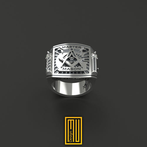 Masonic Ring With Silver Roslyn Chapel Pillars with Zirconia