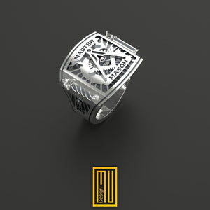 Master Mason Ring With Roslyn Chapel's  Pillars, 925k Sterling Silver Body with 2x 3mm Cubic Zirconia