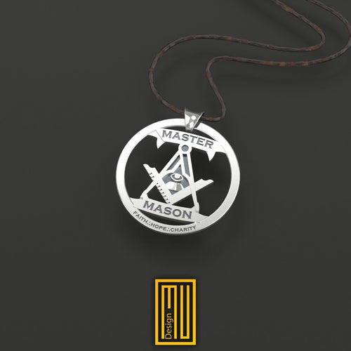 Master Mason Pendant Unique Design for Men 925K Sterling Silver