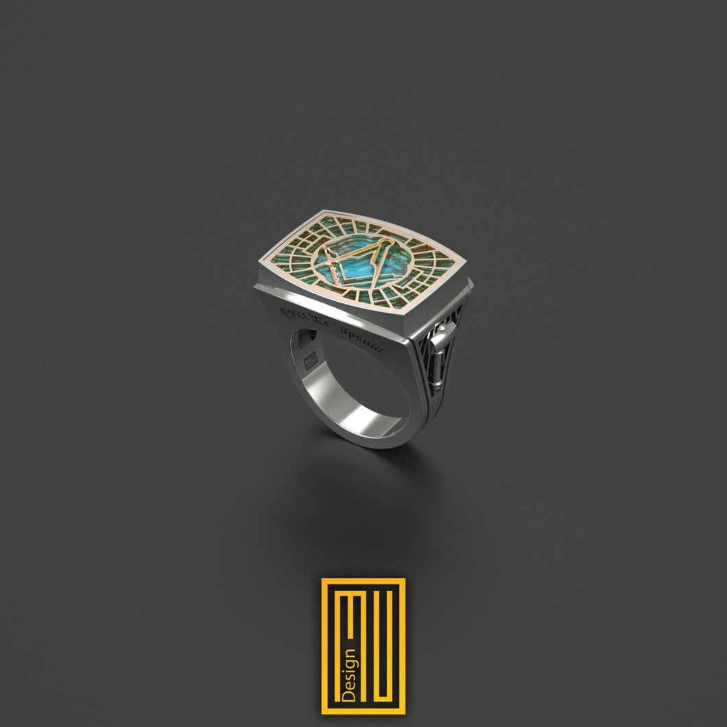 Master Mason Ring Special Cut Turquoise Gemstone 14k Rose Gold