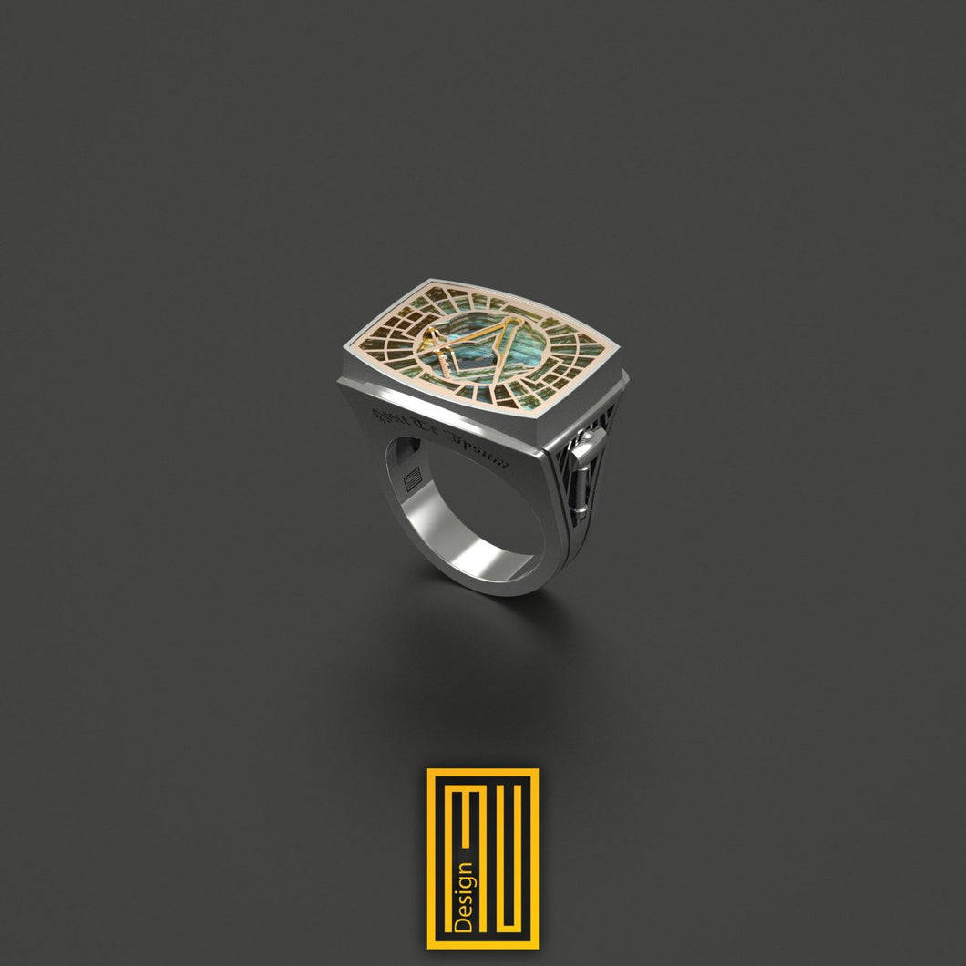 Master Mason Ring Special Cut Labradorite Gemstone 14k Rose Gold