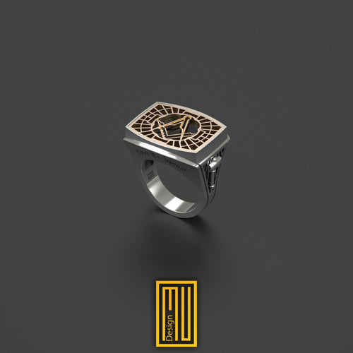 Master Mason Ring Special Cut Black Onyx Gemstone 14k Rose Gold
