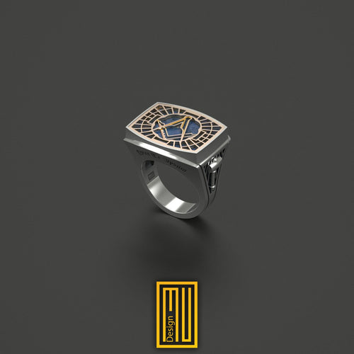 Master Mason Ring Special Cut Lapis Lazuli Gemstone 14k Rose Gold