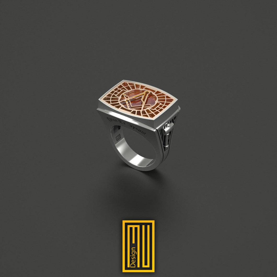 Master Mason Ring Special Cut Agate Gemstone Unique Design for Men 14k Rose Gold and 925K Sterling Silver 2015 Edition