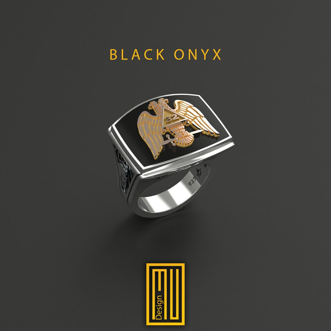 Ring for AASR 32nd degree With Onyx