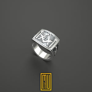Masonic Ring with Real Diamonds