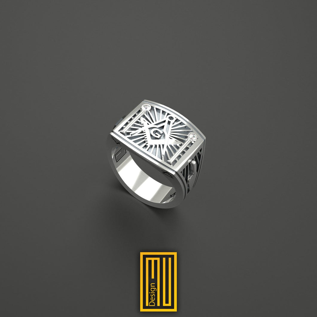 Masonic Ring Unique Design for Men  925k Sterling Silver with 2xReal Diamonds
