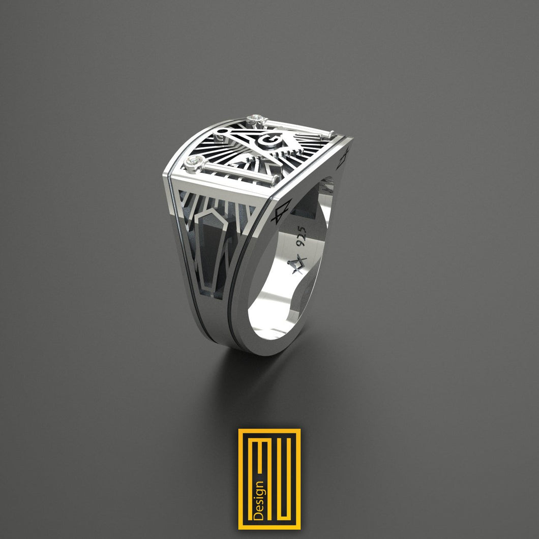 Masonic Ring Unique Design for Men  925k Sterling Silver with 2x Cubic Zirconia