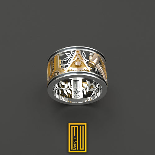 Masonic Ring With Golden All Working Tools Past Master Symbol