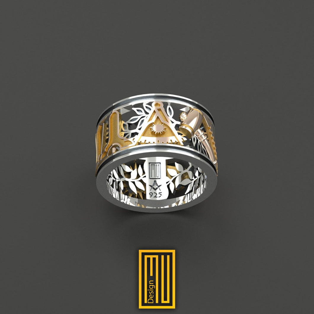 Masonic Wedding Style Past Master Ring Unique Design for Men 14k Rose Gold 925k Sterling Silver