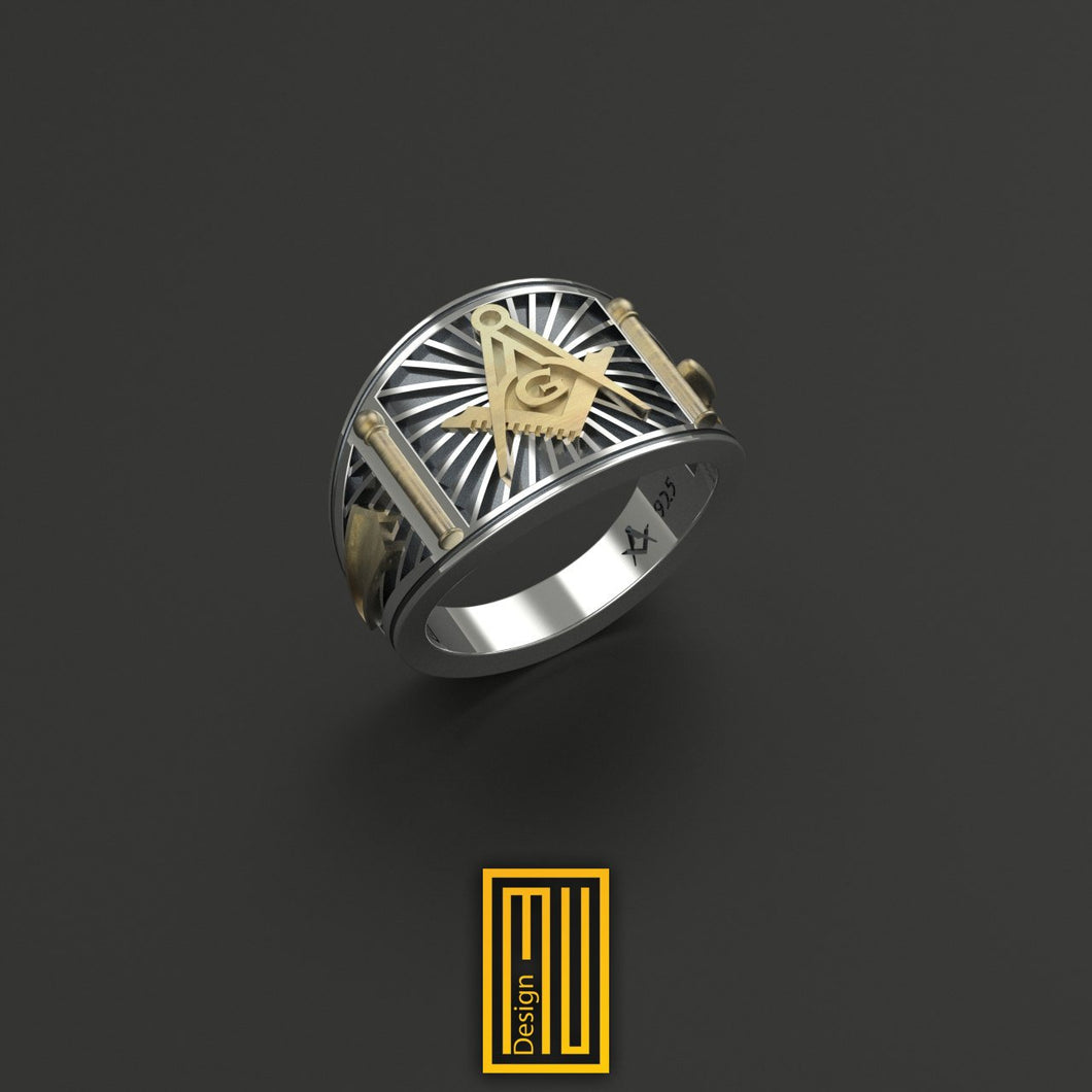 Cigar Band Style Masonic Ring Silver and Bronze