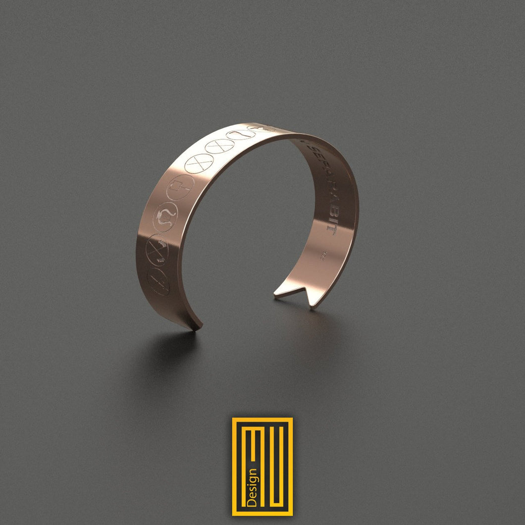 Masonic Infinite Copper Bracelet with Lodge Officer Symbols
