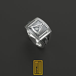 Past Master Ring Silver tools with Real Diamond on Sun and Pillars