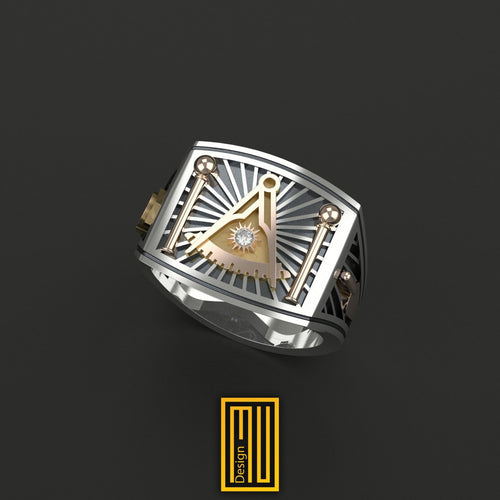 Past Master Ring Golden tools with Real Diamond on Sun