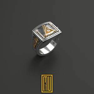Past Master Ring Unique Design for Men  14k Rose gold, 925k Sterling Silver with 3 x Real Diamond on Sun
