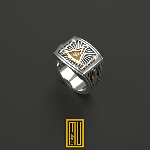 Past Master Ring Golden tools with Real Diamond on Sun and Pillars