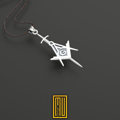 Master Mason Pendant With Knight's Sword Unique Design for Men 925K Sterling Silver