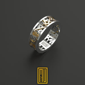 Ring with Masonic Working Tools 18k gold