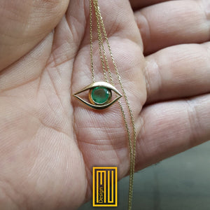 Masonic Necklace All Seeing Eye  With Emerald Unique Design for Women 18K Rose Gold