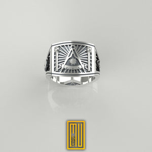 Masonic Ring Past master sign Silver tools
