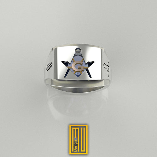 Masonic Ring with Blue Sky Topaz