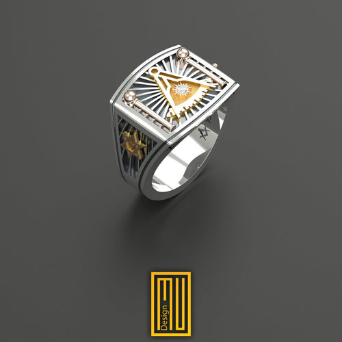 Past Master Ring Golden tools with Real Diamond on Sun and David star